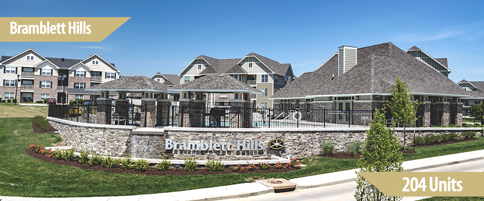 "Construction of Bramblett Hills, a 204-unit apartment project in O'Fallon, Missouri, began in June of 2015. Money Magazine ranked O'Fallon as one of the ""Best 100 Places to Live in 2006, 2008 and 2010.  The project, located at Highway K and Mexico Roads, will include one, two and three bedroom floor plans over 17 buildings, together with a fitness center, business center, waterfall entry, outdoor cooking lounges, zero-entry pool, enclosed parking garages and carports. Nearby retailers include two major grocers within a quarter of a mile, Lowes and Home Depot within a third of a mile, Wal-Mart Superstore within a quarter of a mile, and Target and Kohl's within a mile of the project."